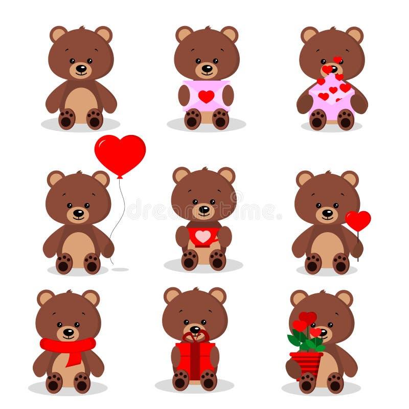 Stellen Sie von den netten Braunbären in sitzender Haltung mit verschiedenen Sachen in den Tatzen ein vektor abbildung