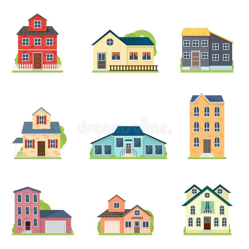 Stellen Sie von den netten bunten Häusern in der Stadt- oder Dorfart ein stock abbildung