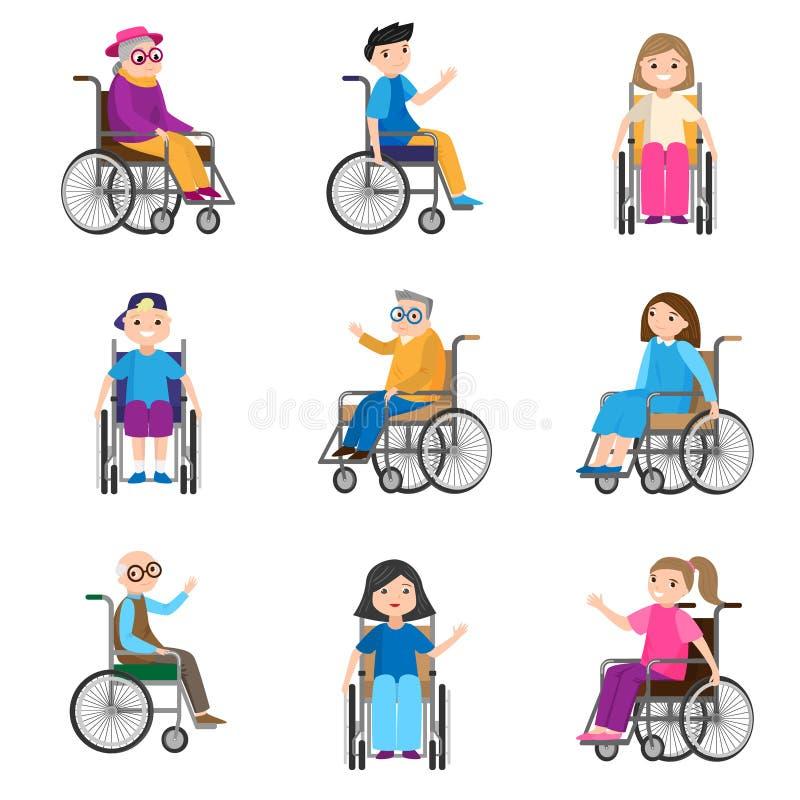 Stellen Sie von den netten lächelnden Personen mit Bewegungsunfähigkeit in den Rollstühlen ein vektor abbildung