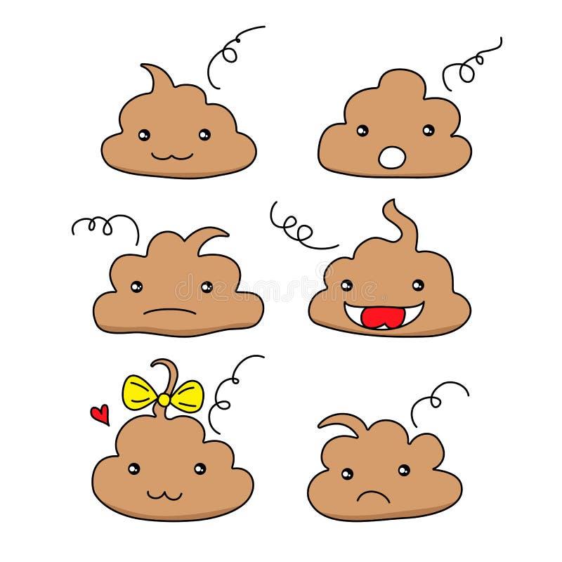 Stellen Sie von den netten lustigen Heck Emoticonsmiley ein Emotionale geschissene kawaii Ikonen Glücklich, Lächeln, verärgert, t vektor abbildung