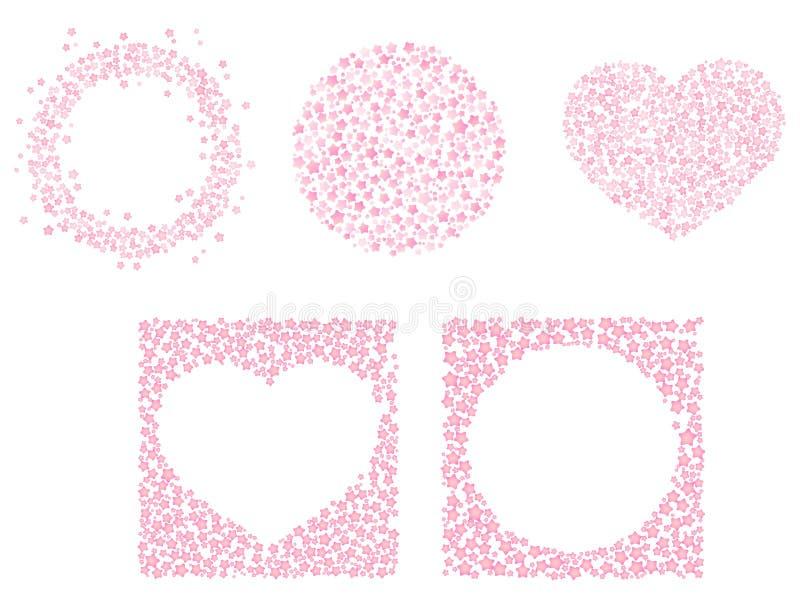 Stellen Sie von den netten rosa Rahmen f?r Valentine Day ein Kreisform, Herzformverzierung Lokalisierter editable Vektorclipart a lizenzfreie abbildung
