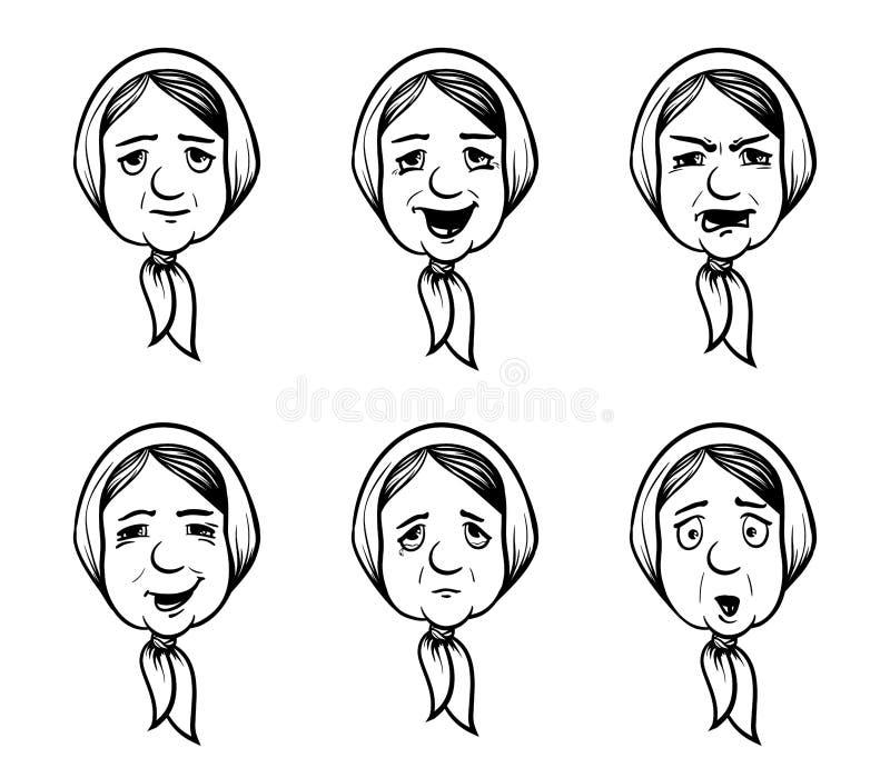 Stellen Sie von den Omaköpfen in der Karikaturart ein Oma mit verschiedenen Gefühlen Vektor lizenzfreie abbildung