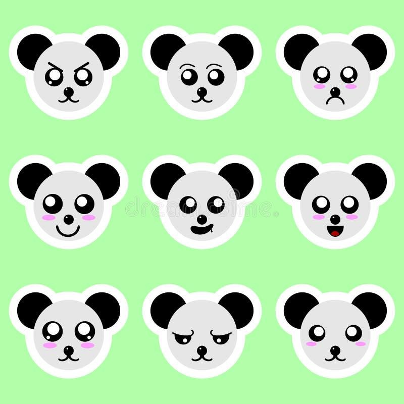 Stellen Sie von den Pandaaufklebern ein Verschiedene Gefühle, Ausdrücke Aufkleber in der Animeart Vektorabbildung für Ihr design lizenzfreie abbildung