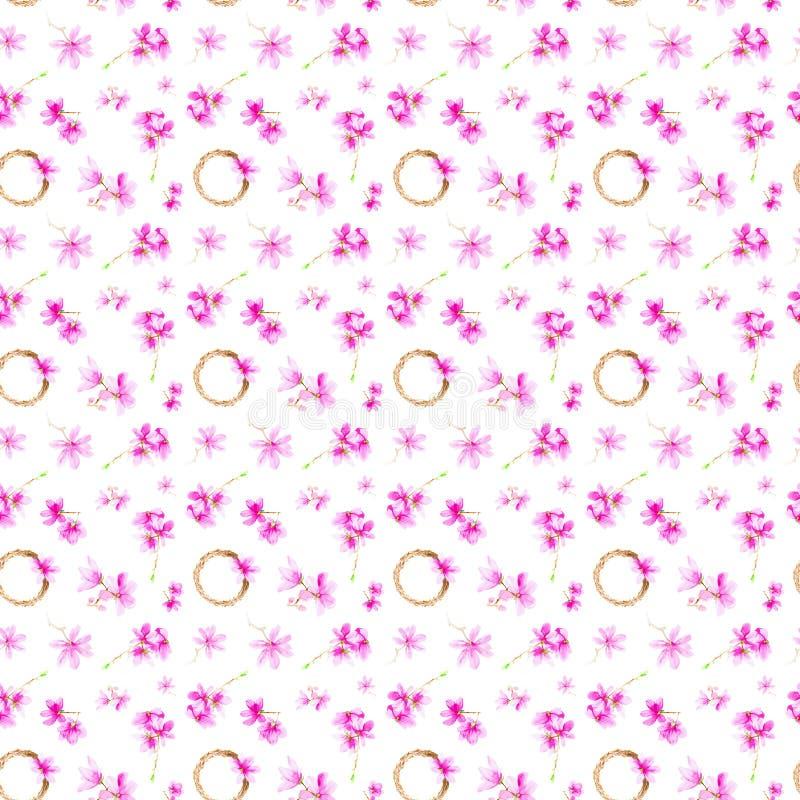 Stellen Sie von den Pflaumenblumen, -zweigen und -Kranz ein Aquarellillustration lokalisiert auf wei?em Hintergrund Nahtloses Mus lizenzfreie abbildung