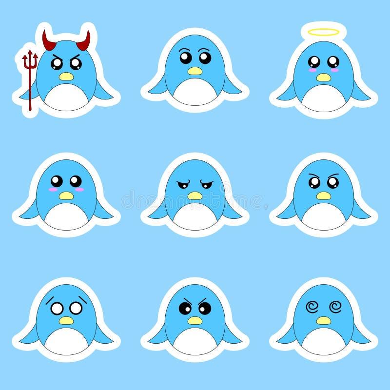 Stellen Sie von den Pinguinaufklebern ein Verschiedene Gefühle, Ausdrücke Aufkleber in der Animeart Vektorabbildung für Ihr desig vektor abbildung