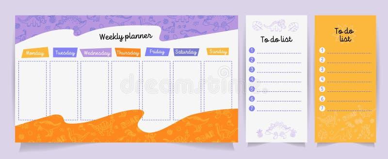Stellen Sie von den Planern und Listen mit netten Dino-Illustrationen und -beschriftung zu tun ein Schablone für Tagesordnung, Pl lizenzfreie abbildung
