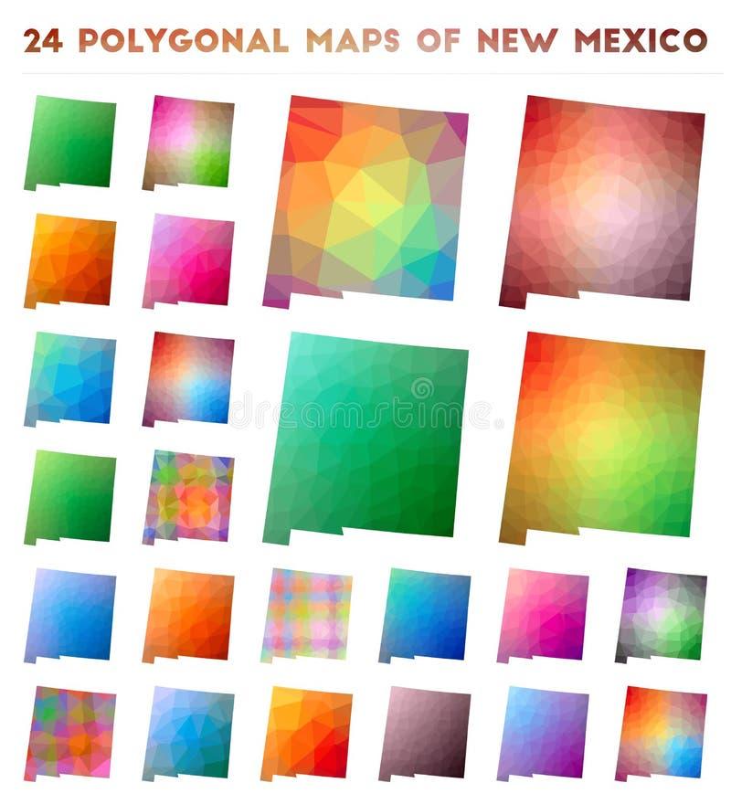 Stellen Sie von den polygonalen Karten des Vektors des New Mexiko ein stock abbildung
