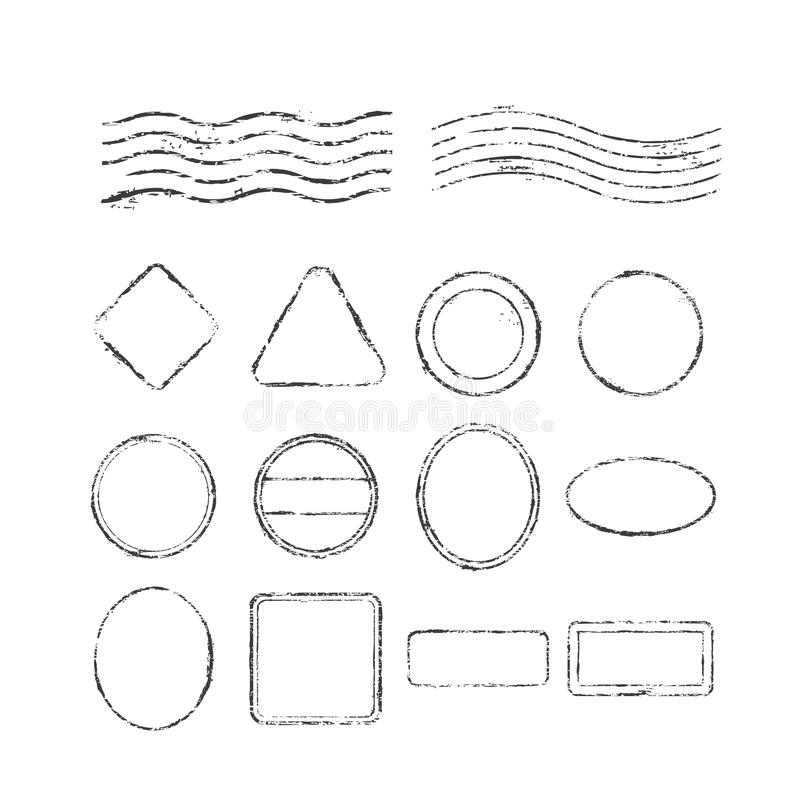 Stellen Sie von den Poststempeln und von den Poststempeln ein, lokalisiert auf weißem Hintergrund, Vektorillustration vektor abbildung