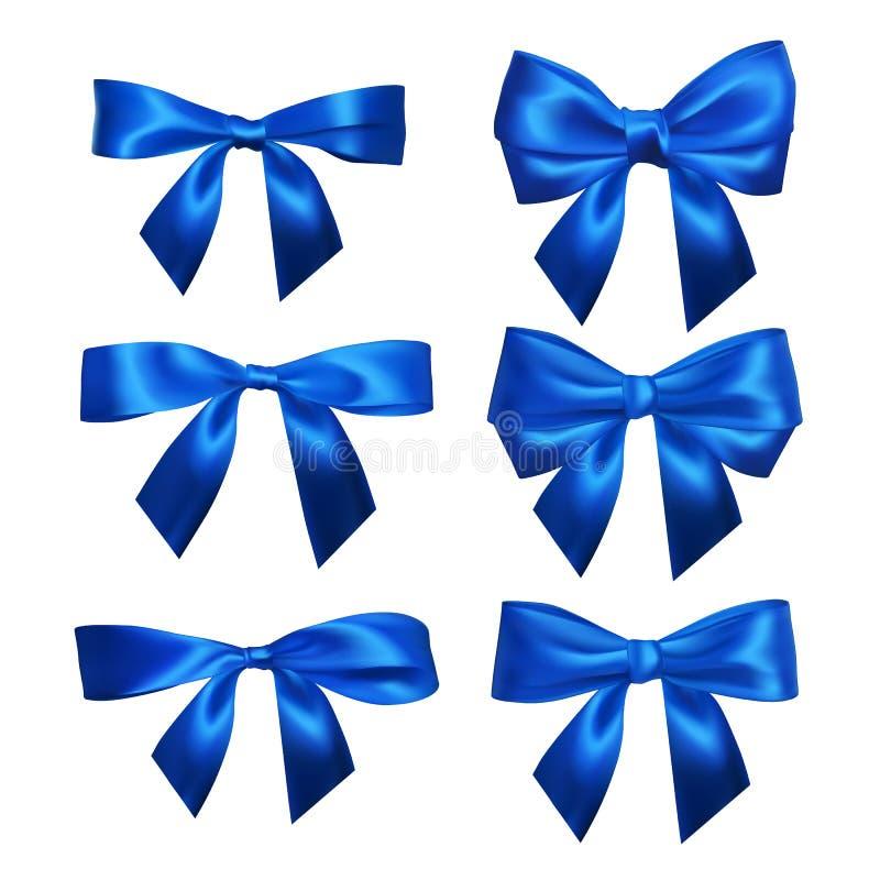 Stellen Sie von den realistischen blauen Bögen ein Element für Dekorationsgeschenke, Grüße, Feiertage, Valentinsgruß-Tagesentwurf lizenzfreie abbildung