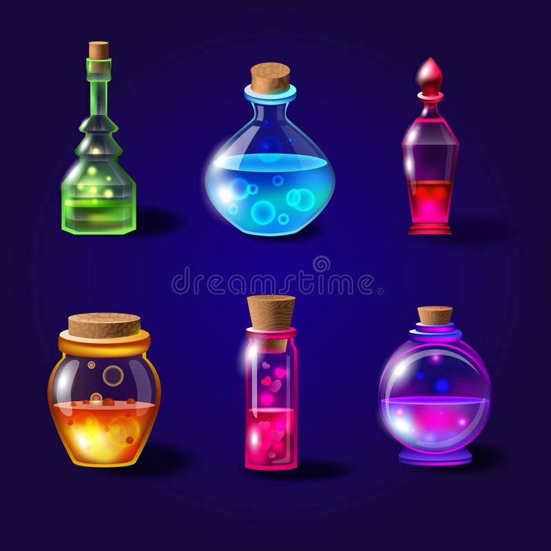 Stellen Sie von den realistischen magischen Flaschen mit Gift ein Vektortrankflaschen eingestellt mit transparentem Glas für Spie vektor abbildung