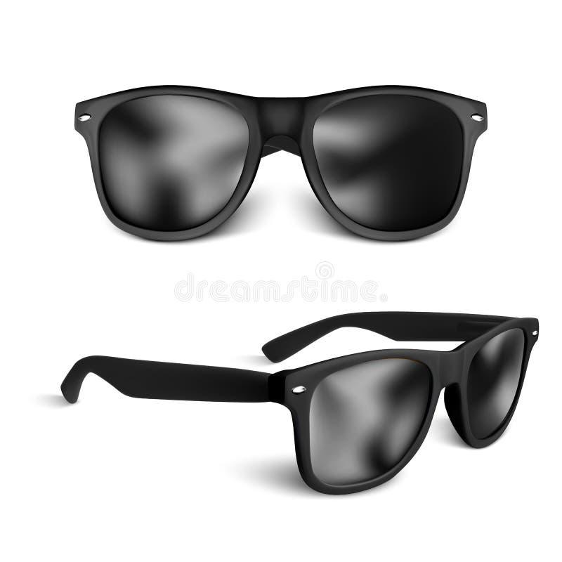 Stellen Sie von den realistischen schwarzen Sonnenbrillen ein, die auf weißem Hintergrund lokalisiert werden Auch im corel abgeho stock abbildung