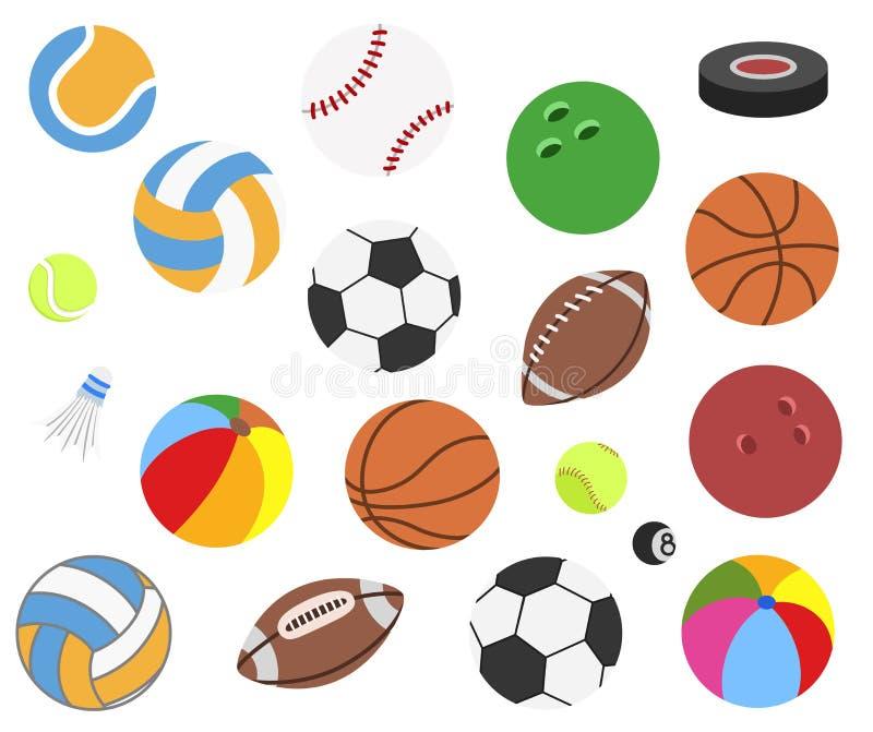 Stellen Sie von den realistischen Sportbällen des Vektors für Fußball, Fußball, Rugby, Tennis, Volleyball, Basketball, Baseball,  vektor abbildung