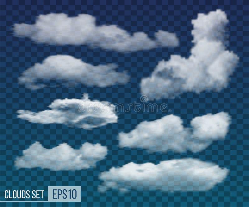 Stellen Sie von den realistischen transparenten Nachtwolken ein Vektor lizenzfreie abbildung