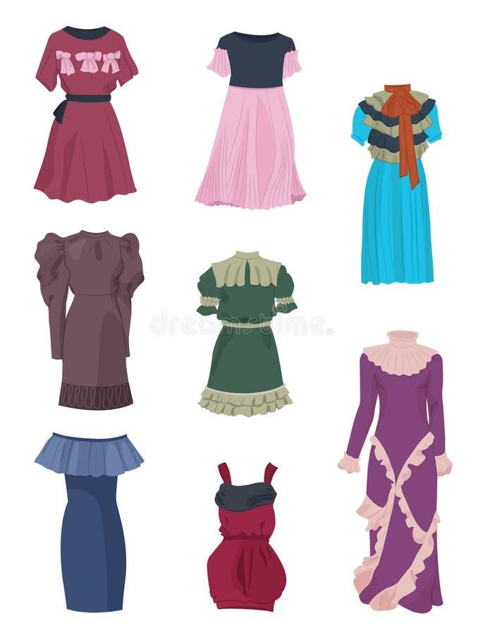 Stellen Sie von den romantischen Kleidern ein lizenzfreie abbildung