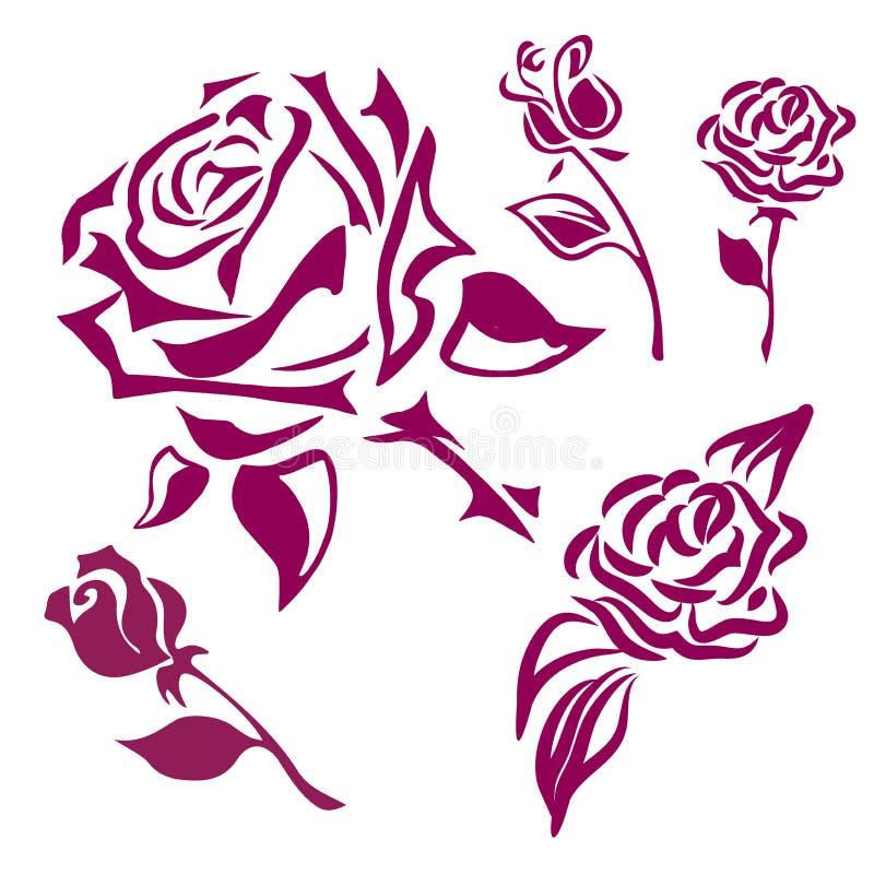 Stellen Sie von den rosa Schattenbildern von den rosafarbenen Blumen ein, die auf einem weißen Hintergrund lokalisiert werden lizenzfreie abbildung