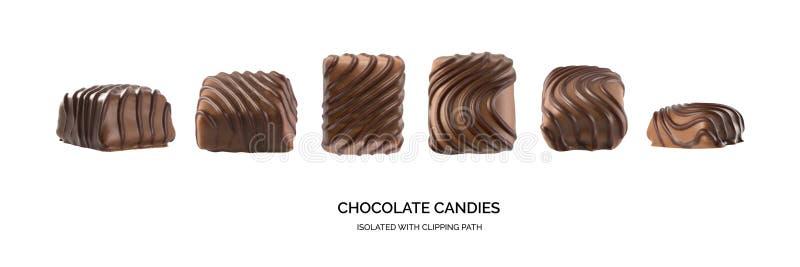 Stellen Sie von den schönen kreativen Schokoladen-Bonbons lokalisiert ein lizenzfreie stockfotografie