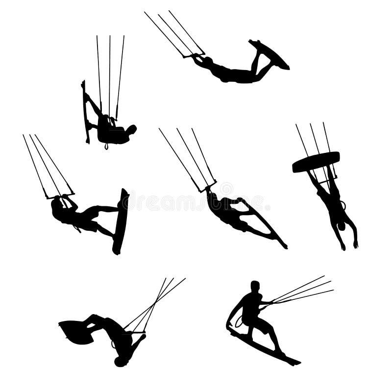 Stellen Sie von den Schattenbildern von kitesurfers ein und kiteboarding, watersports lizenzfreie abbildung