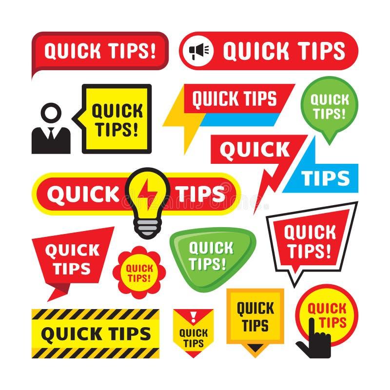 Stellen Sie von den schnellen Spitzen - Konzeptausweis-Vektorillustration ein Hilfreiche Trickfahnen-Zeichenaufkleber Kreative fl stock abbildung