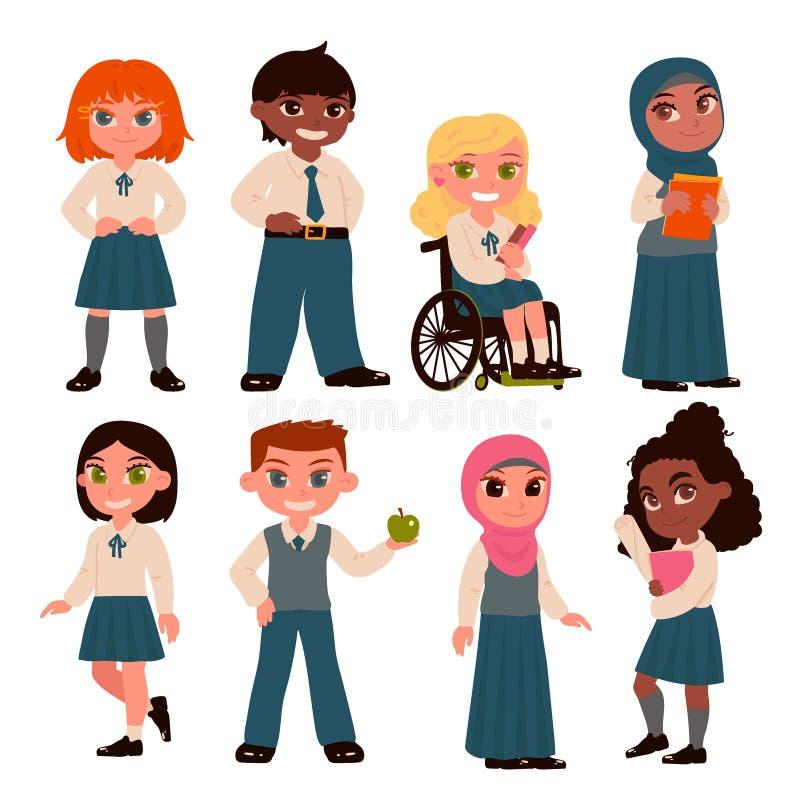 Stellen Sie von den Schulkindcharakteren ein, die auf weißem Hintergrund lokalisiert werden Schuluniform Auch im corel abgehobene vektor abbildung
