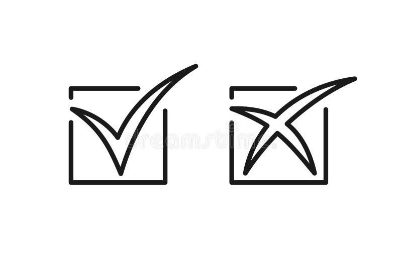 Stellen Sie von den schwarzen lokalisierten Entwurfsikonen des Kreuzes und der Zecke auf weißem Hintergrund ein Linie Ikone des A lizenzfreie abbildung