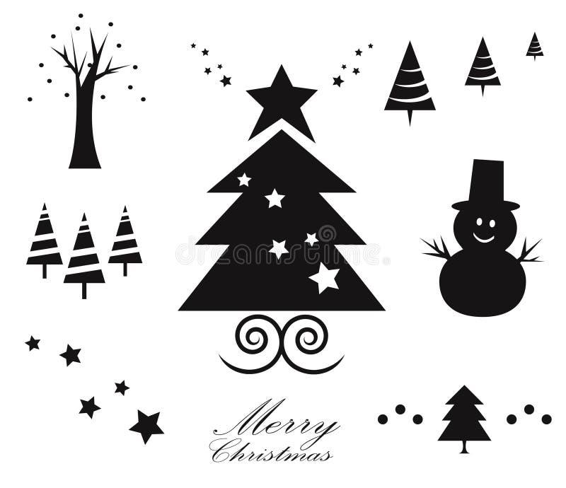 Stellen Sie von den Schwarzweiss-Weihnachtsverzierungen ein Verschiedene Weihnachtsikonen lizenzfreie abbildung