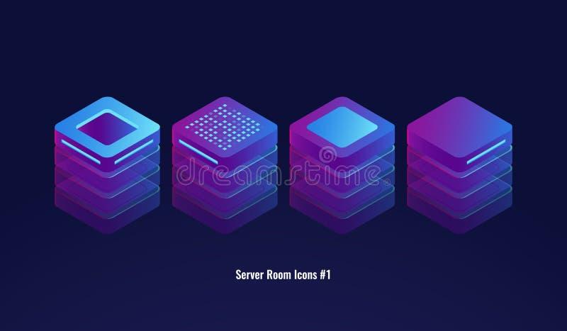 Stellen Sie von den Serverraumikonen, von der Datenbank 3d und von datacenter Konzept, Lichttechnikgegenstand, Element für Entwur vektor abbildung