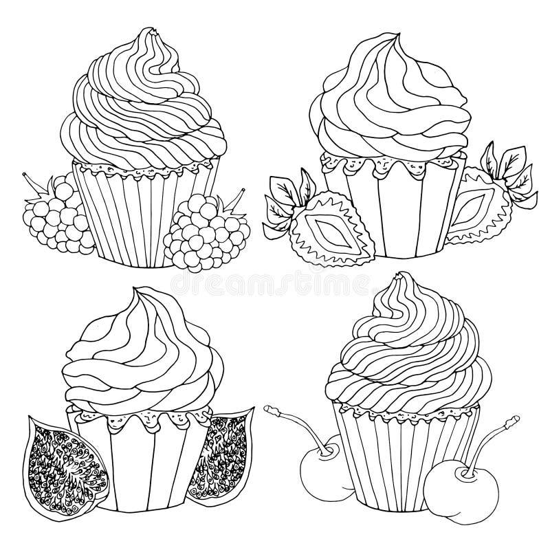 Stellen Sie von den Skizze gezeichneten schwarzen Konturnkleinen kuchen ein, die mit Sahne, die Früchte verziert werden, lokalisi lizenzfreie abbildung