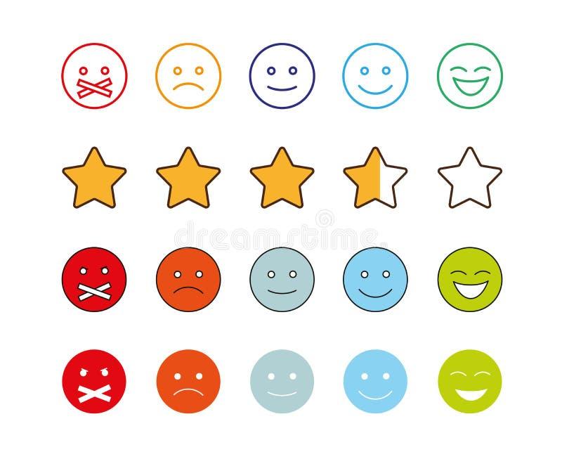 Stellen Sie von den smiley mit verschiedenen Gefühlausdrücken ein lizenzfreie abbildung