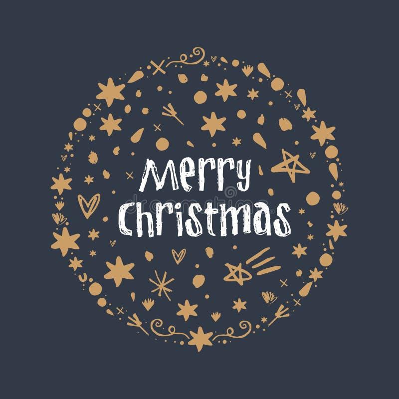 Stellen Sie von den Sternen und Zeichen von frohen Weihnachten, Handgezogener beschriftender Artguß ein stock abbildung