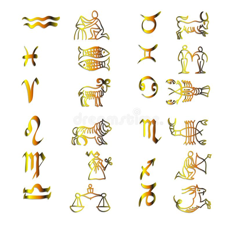 Stellen Sie von den Tierkreissymbolen, Goldikonen auf dem weißen Hintergrund ein vektor abbildung