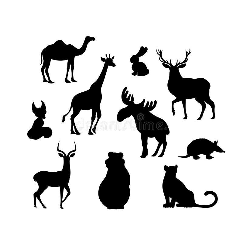 Stellen Sie von den Tiers Schattenbildern der Karikatur ein Kamel, Fuchs, Jaguar, Elch, Bär, Gürteltier, Hase, Rotwild, Impala, G stock abbildung