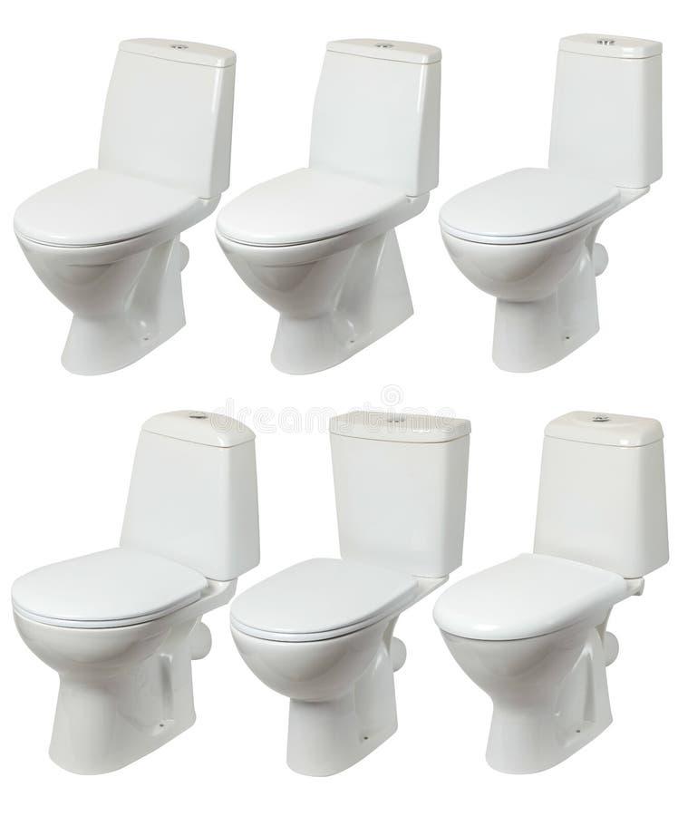 Auf weißem Grund abgelegte Toilette lizenzfreie stockbilder