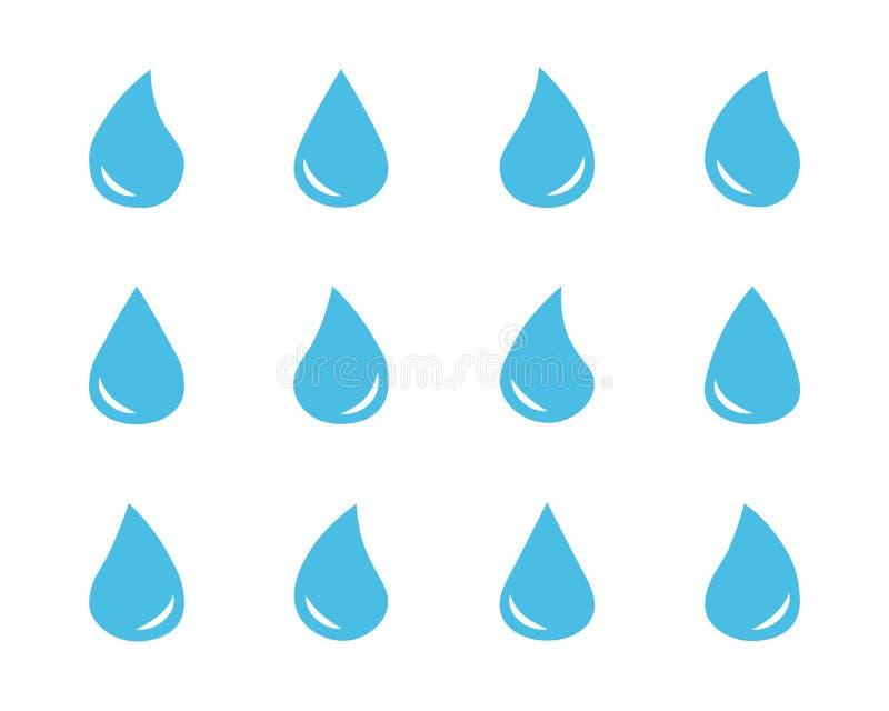 Stellen Sie von den Tropfensymbolen des blauen Wassers des Vektors ein stock abbildung