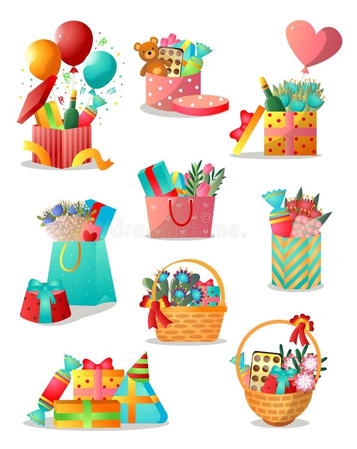 Stellen Sie von den unterschiedlichen bunten Geschenkboxen oder vom Korb für Feiertage ein vektor abbildung
