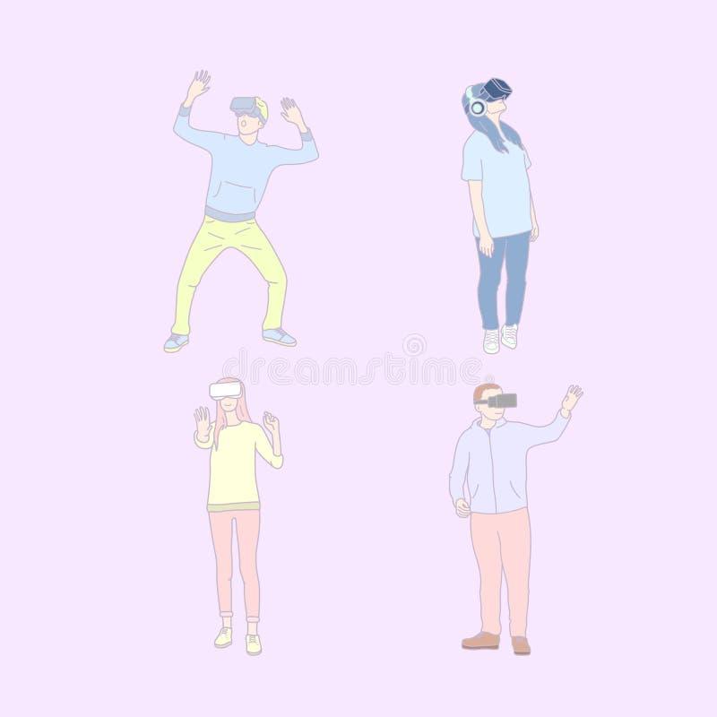 Stellen Sie von den Völkern benutzen VR-Gläser ein Handgezogener Artvektor stock abbildung
