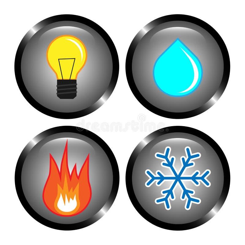 Stellen Sie von den Vektorikonen - Heizung, Wasser, der Strom ein und abkühlen stock abbildung