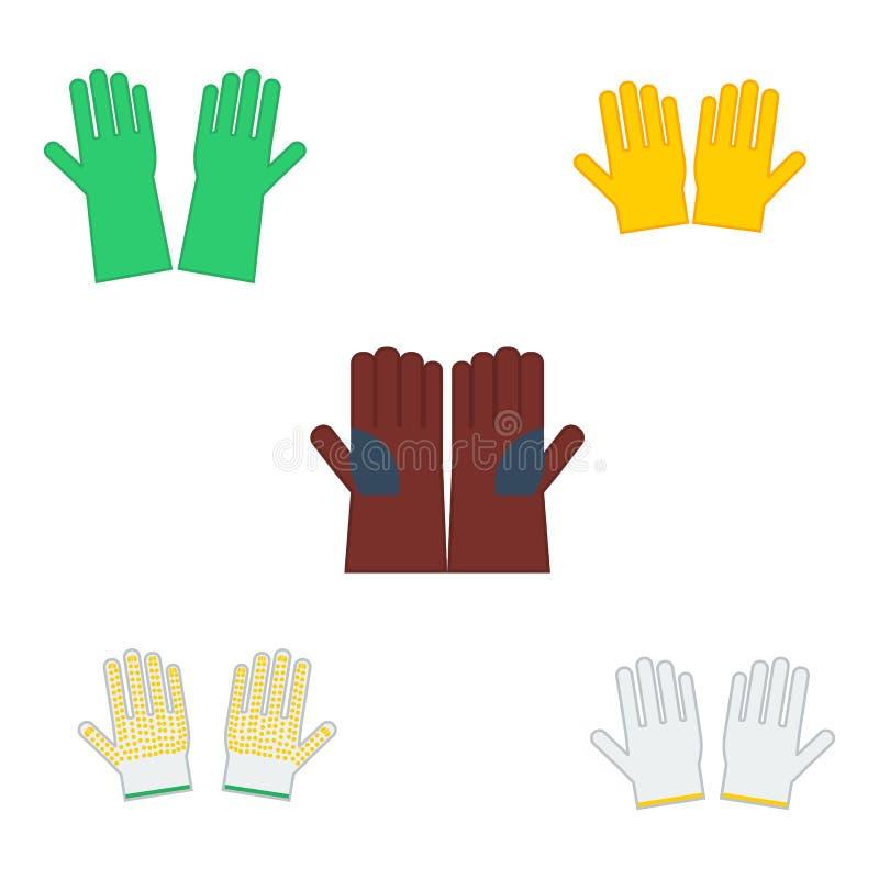 Stellen Sie von den Vektorillustrationsschutzhandschuhen ein stock abbildung
