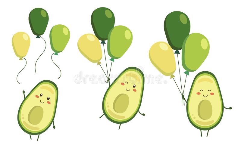 Stellen Sie von den Vektorkarikatur-Avocadohelden mit Ballonen in kawaii Art ein Charaktere für Kindermalbuch, Färbungsseiten vektor abbildung