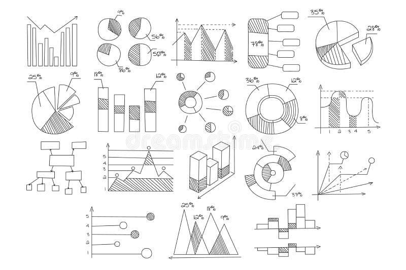 Stellen Sie von den verschiedenen Diagrammen, von den Diagrammen des Wachstums und von der Entwicklung mit Prozenten und schemati stock abbildung