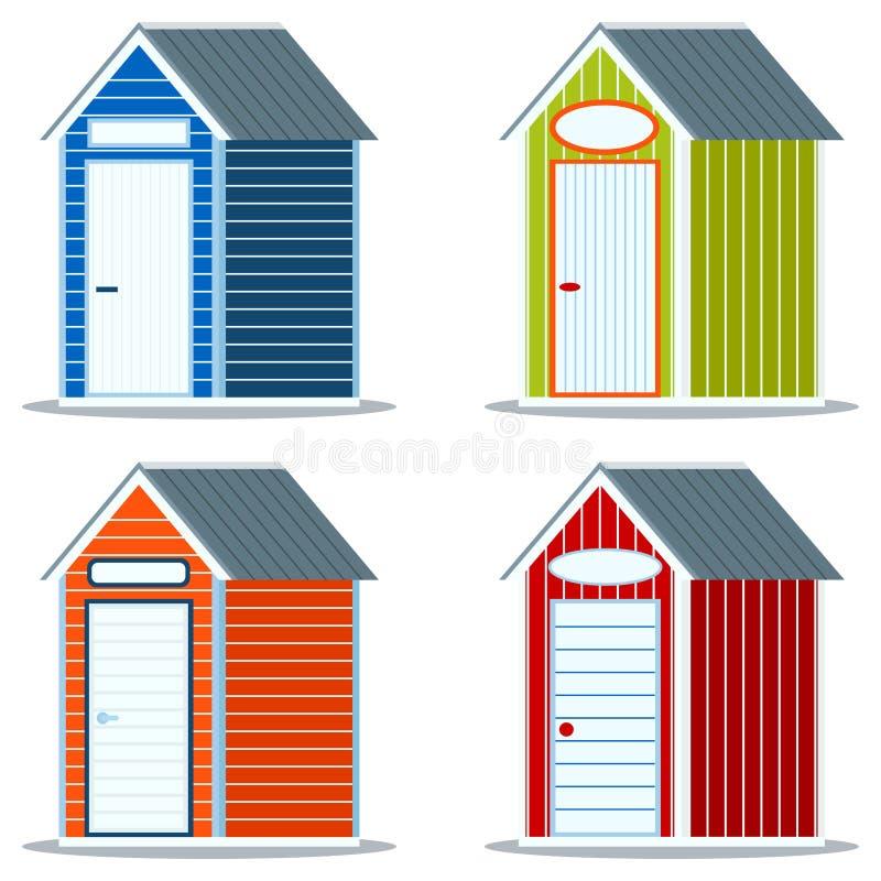 Stellen Sie von den verschiedenen einfachen hölzernen oder PVCplastikstrandmehrfarbenhütten mit leerer Zeichenikone ein stock abbildung