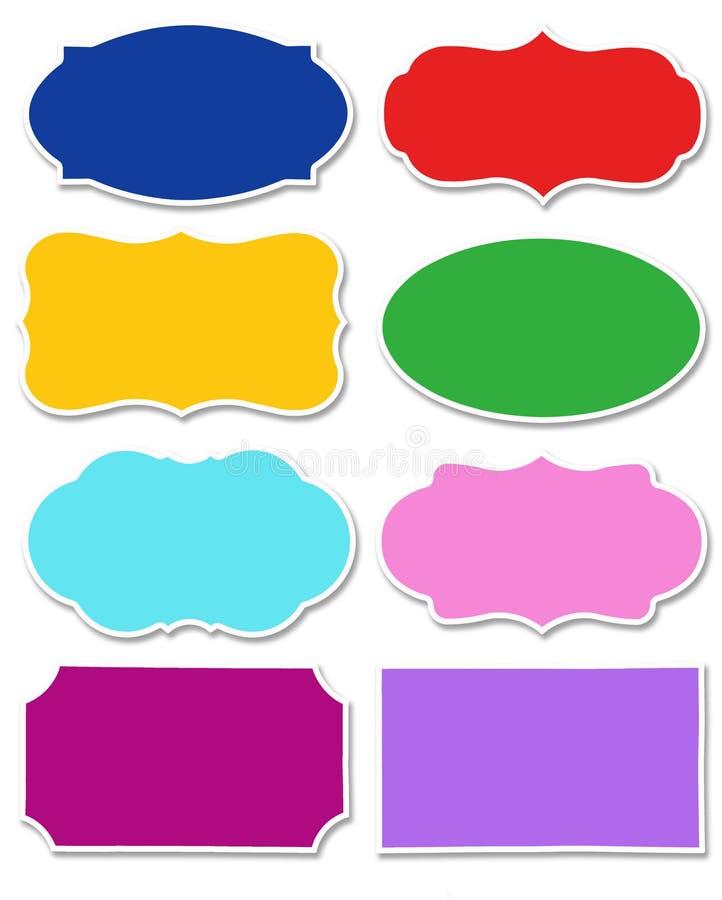 Stellen Sie von den verschiedenen Farben des Aufklebers mit der unterschiedlichen Form ein, die auf weißem Hintergrund lokalisier vektor abbildung