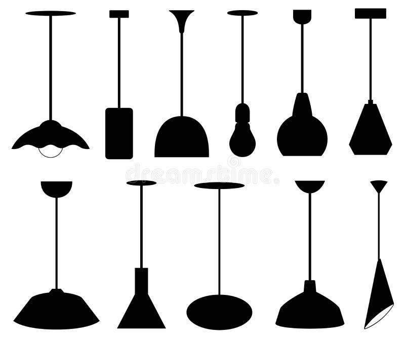 Stellen Sie von den verschiedenen hängenden Lampen ein stock abbildung