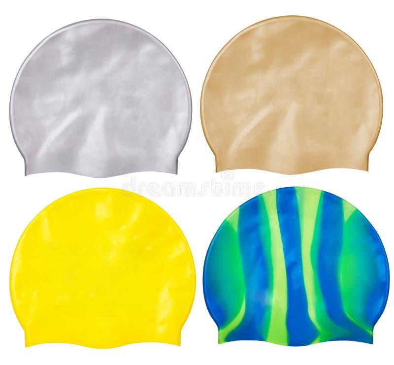 Stellen Sie von den verschiedenen Kappen für das Schwimmen vom Gummi oder vom Silikon ein, lizenzfreies stockfoto