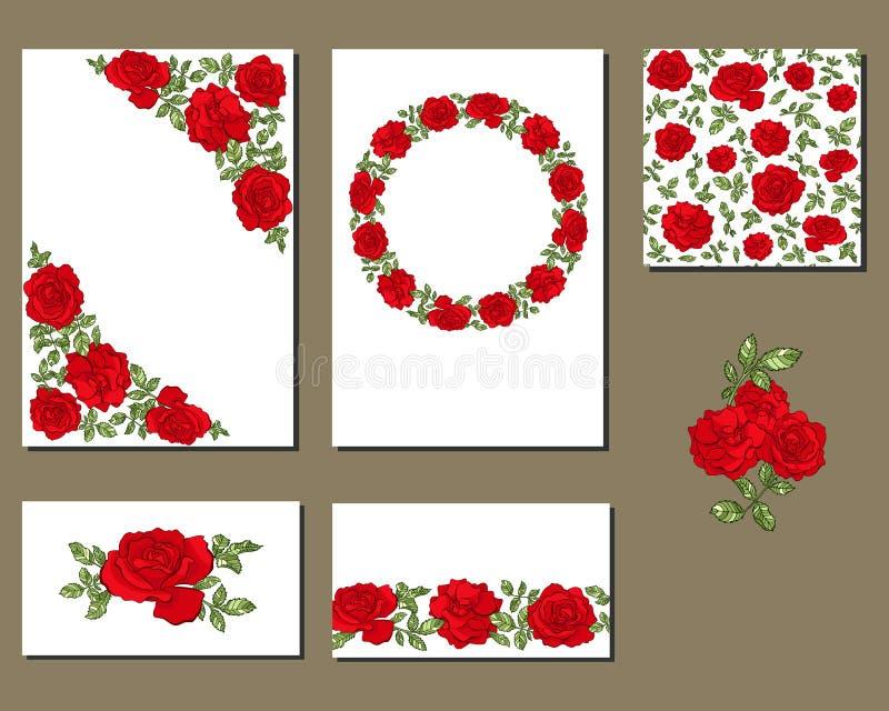 Stellen Sie von den verschiedenen Karten mit Blumen der roten Rosen ein lizenzfreie abbildung