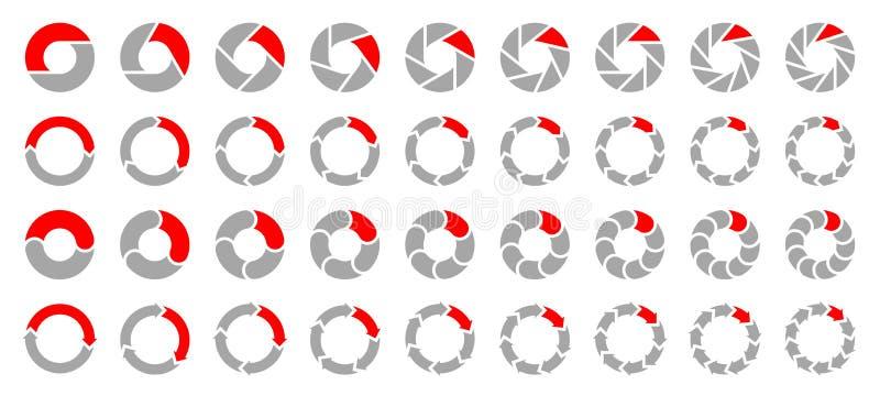 Stellen Sie von den verschiedenen Kreisdiagramm-Pfeilen Gray And Red ein vektor abbildung