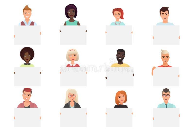 Stellen Sie von den verschiedenen lächelnden Leuten ein, die weiße leere Plakate lokalisiert auf weißem backround halten Bunte Ve lizenzfreie abbildung