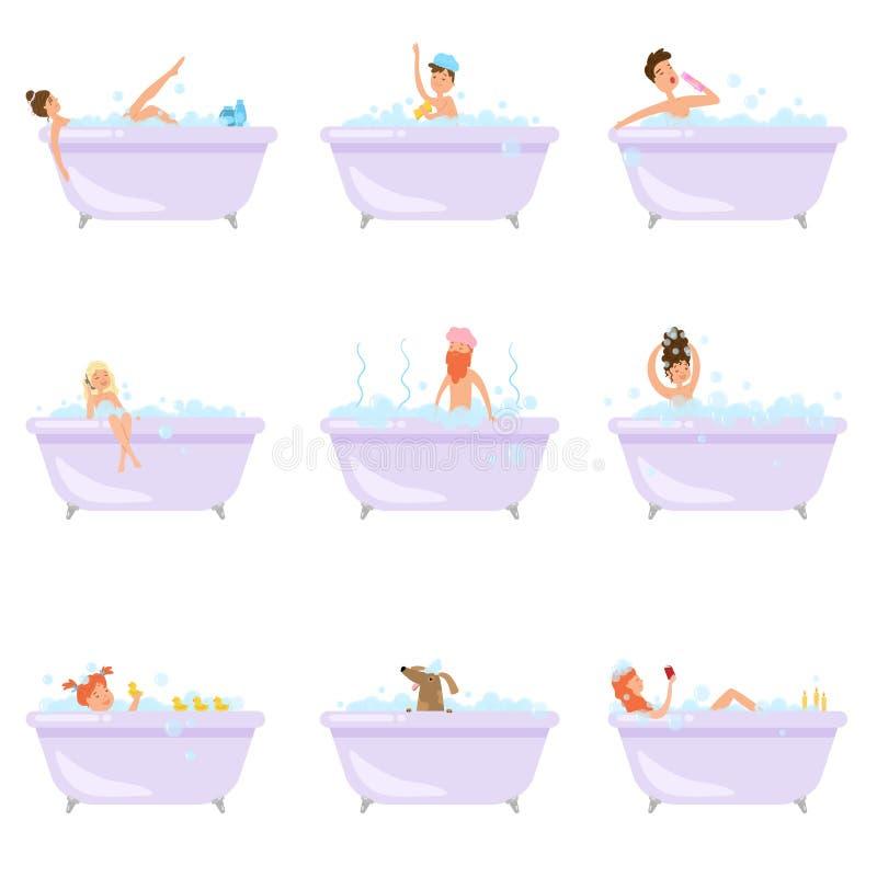 Stellen Sie von den verschiedenen Leuten ein, oder Tiere nehmen ein Bad in der Badewanne lizenzfreie abbildung