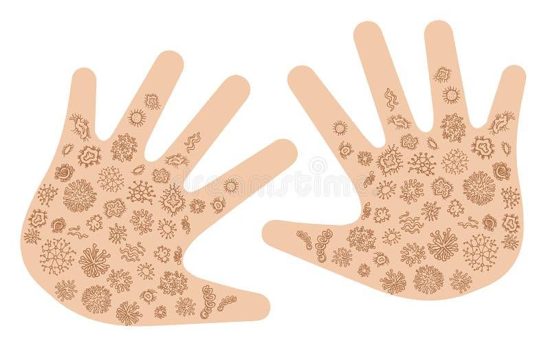 Stellen Sie von den verschiedenen Mikroorganismen an Hand ein Sammlung ansteckende Mikroben, Protists, Mikroben Bündel des Krankh lizenzfreie abbildung