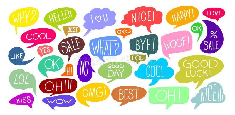 Stellen Sie von den verschiedenen netten Sprache-Blasen-Gekritzel-Aufklebern mit mehrfachen Farben ein Bunte komische Sprache-Bla vektor abbildung