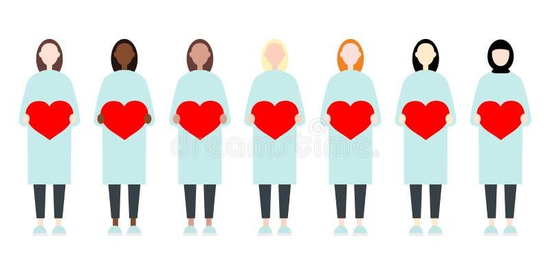Stellen Sie von den verschiedenen Rennvektorfrauen in den langen Kleidern ein, die Herzen halten Nette und einfache moderne flach vektor abbildung